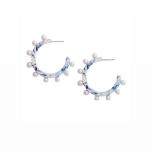 Blue and White Pearl Hoops