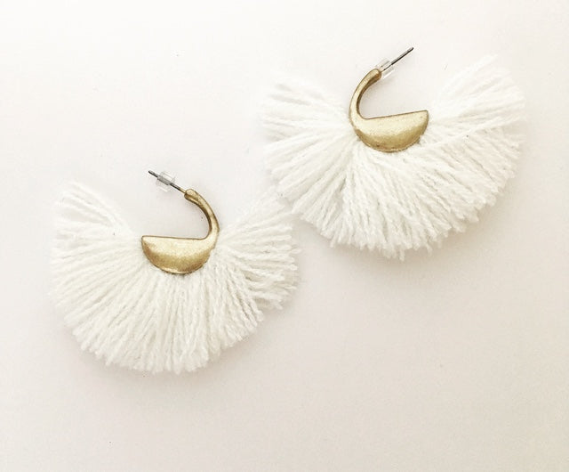 Threaded White Tassels