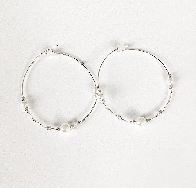 Charming Silver Pearl Hoops