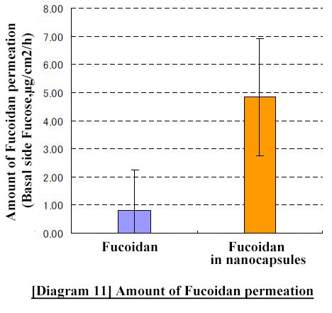 Difference in the amount of passage between regular Fucoidan and nanoized Fucoidan