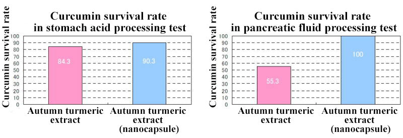 Curcumin survival rate in stomach acid and pancreatic fluid processing test