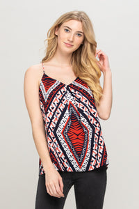 Red Navy Abstract Print Top