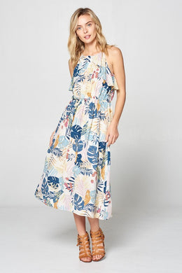 SLEEVELESS PRINT MIDI DRESS