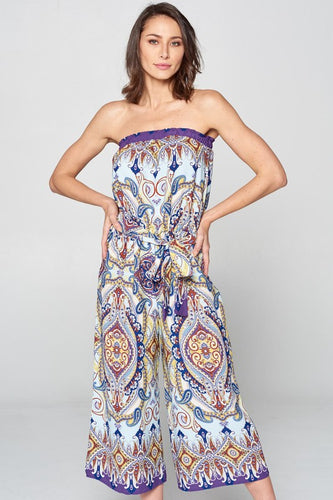 SLEEVELESS BOHO PRINT JUMPSUIT