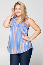 STRIPED MULTI COLOR SLEEVELESS TOP - PLUS SIZE
