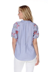 SHORT SLEEVE EMBROIDERY TOP