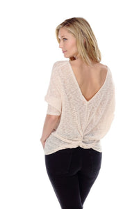 SHEER NUDE TOP WITH BACK KNOT