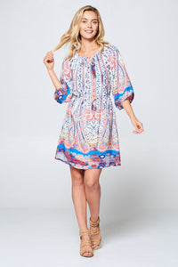3/4 Sleeve Print Dress with Tie