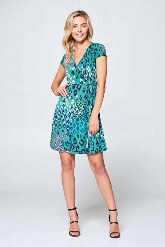 LEOPARD SHORT SLEEVE ANIMAL PRINT DRESS