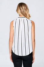 SLEEVELESS STRIPED TOP WITH NECK TIE