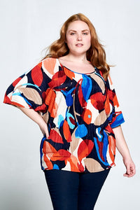 Abstract Print Round Neck Top