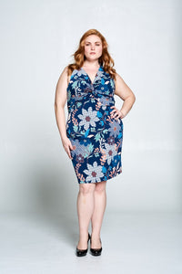 FLORAL PRINT DRESS WITH FRONT KNOT - PLUS SIZE