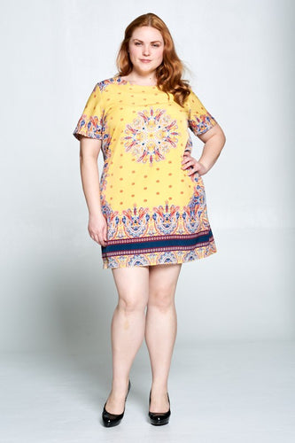 SHORT SLEEVE PRINT DRESS - PLUS SIZE