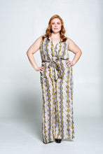SLEEVELESS SNAKE PRINT JUMPSUIT - PLUS SIZE