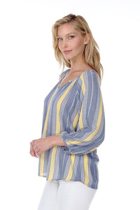 STRIPED V-NECK 3/4 SLEEVE TOP