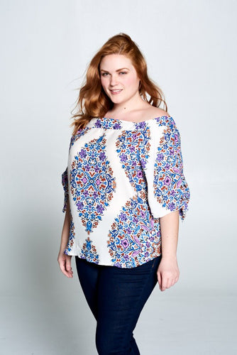 PAISLEY OFF THE SHOULDER TOP - PLUS SIZE