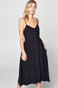 SPAGHETTI STRAP MIDI DRESS WITH BUTTONS AND POCKETS