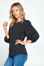 ROUND NECK TOP WITH 3/4 PUFF SLEEVE