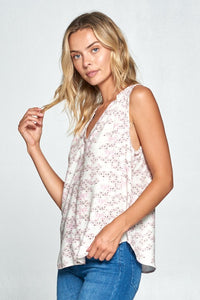 PRINT V-NECK SLEEVELESS TOP