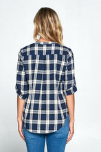 CHECKERED V-NECK TOP WITH ADJUSTABLE SLEEVES