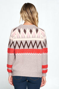 PRINT PULLOVER CREW NECK SWEATER