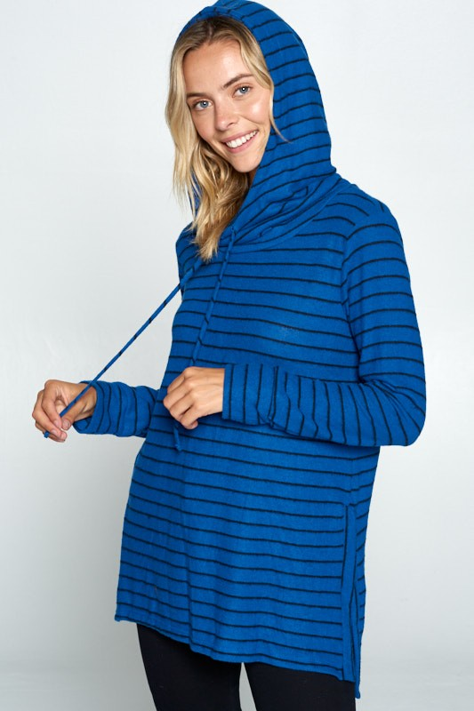 STRIPED LONG SLEEVE TUNIC HOODIE WITH SIDE SLITS