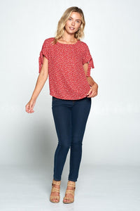 SHORT SLEEVE SCOOP NECK TOP WITH SLEEVE TIE