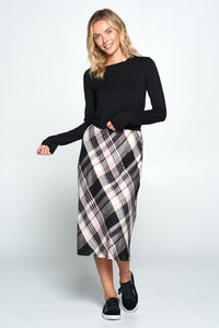 Plaid Print Midi Skirt