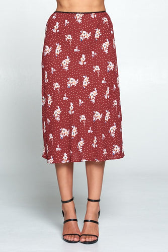 FLORAL AND POLKA DOT MIDI SKIRT