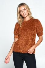 Fuzzy Short Sleeve Top with Puff Sleeve