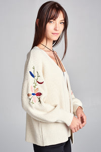 CARDIGAN WITH EMBROIDERED SLEEVES