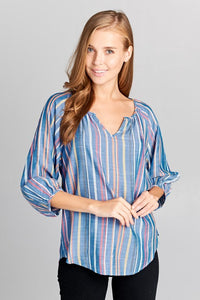 STRIPED MULTI COLOR 3/4 SLEEVE TOP - PLUS SIZE