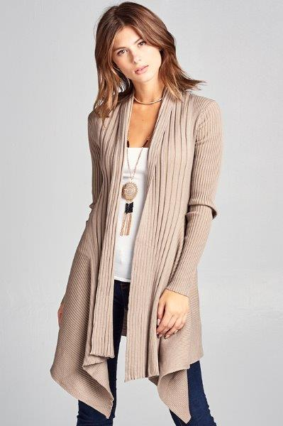 SOLID KNIT CARDIGAN WITH A DRAPED NECK