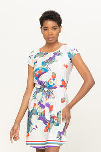 Crane Dress with Waist Tie