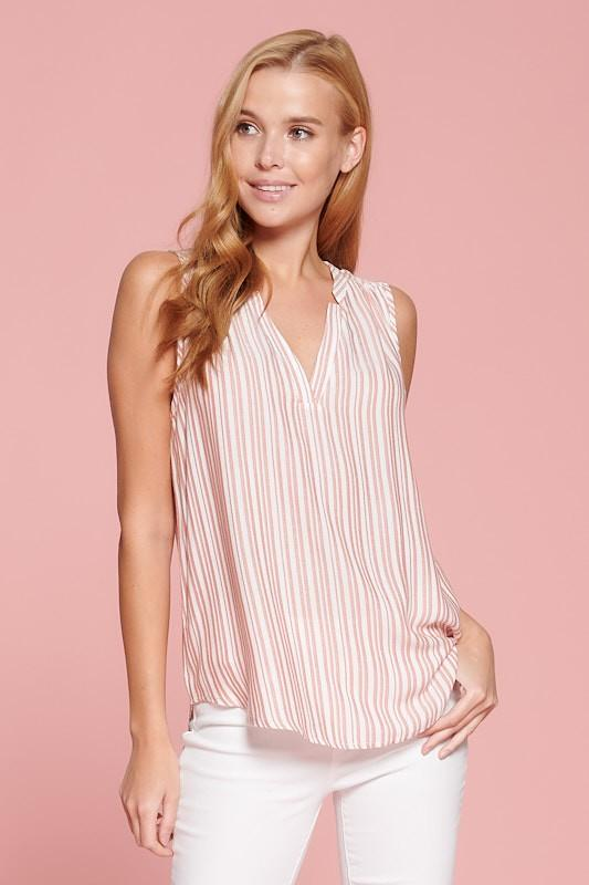 STRIPED SLEEVELESS V NECK TOP