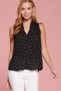 Polka Dot Print Sleeveless V Neck Blouse