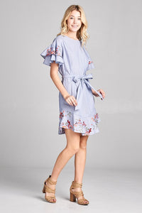 Floral Embroidery Dress with Ruffles and Tie