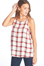 PLAID WAIST LENGTH SLEEVELESS TOP