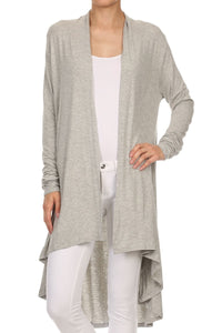 BAMBOO SOLID COLOR OPEN FRONT CARDIGAN
