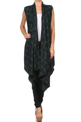 Draped Plaid Vest with Open Front