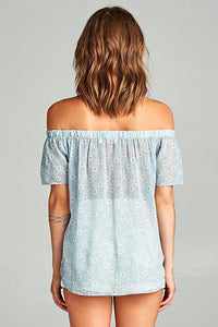 OFF THE SHOULDER MIXED PRINT TOP