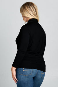 LONG SLEEVE SURPLICE TOP - PLUS SIZE