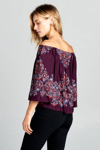 PRINT OFF SHOULDER TOP