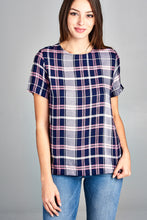 SHORT SLEEVE CHECKERED TOP