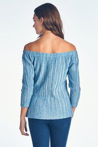 PLEATED LONG SLEEVE OFF-SHOULDER TOP