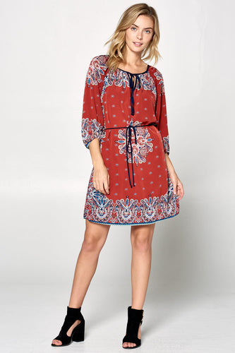 LONG SLEEVE PRINT DRESS WITH WAIST TIE