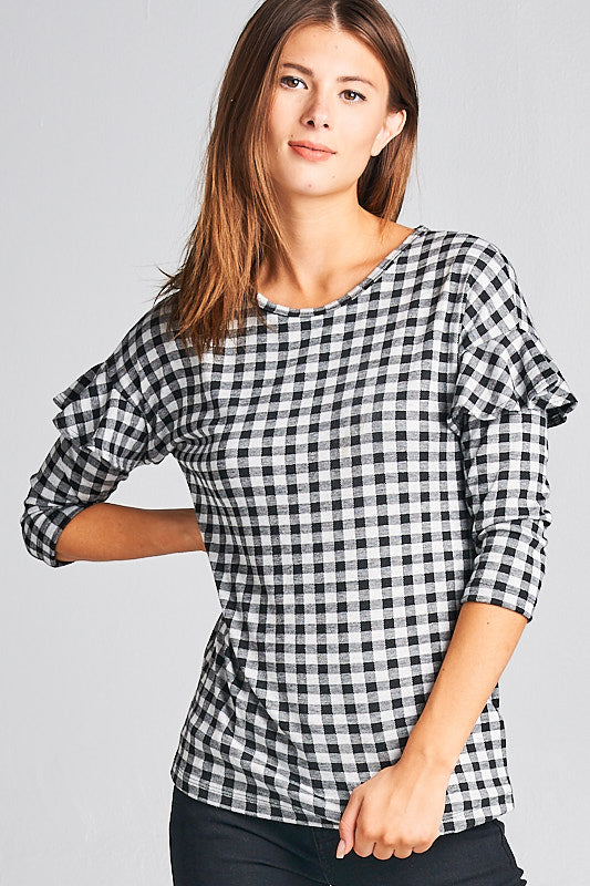 GINGHAM RUFFLE SLEEVE TOP