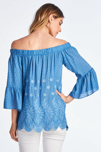 Embroidered Off the Shoulder Top with Bell Sleeve