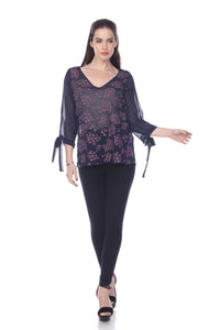 SHEER V-NECK TOP WITH FLORAL EMBROIDERY