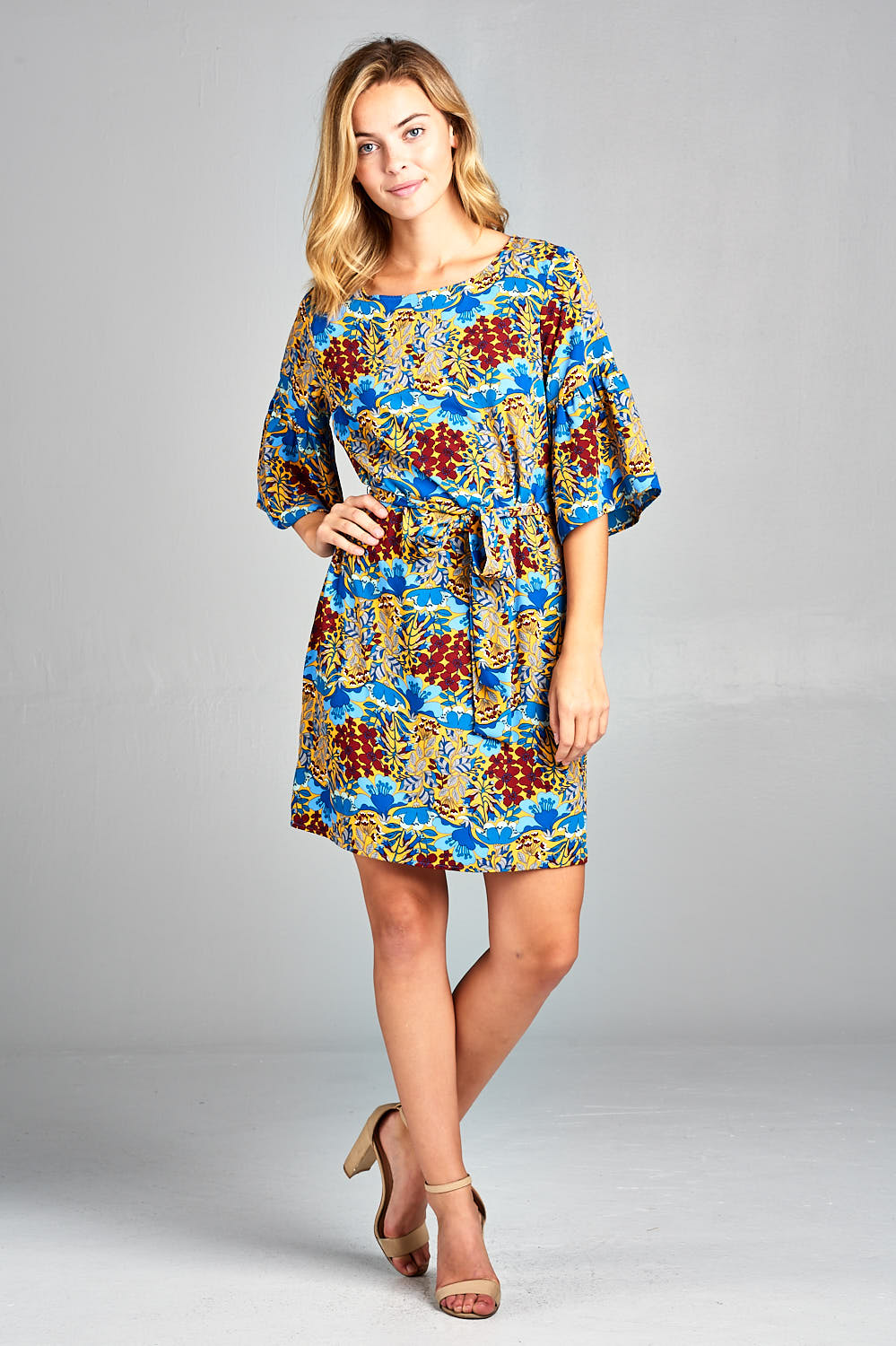 Floral Print Dress with Bell Sleeve